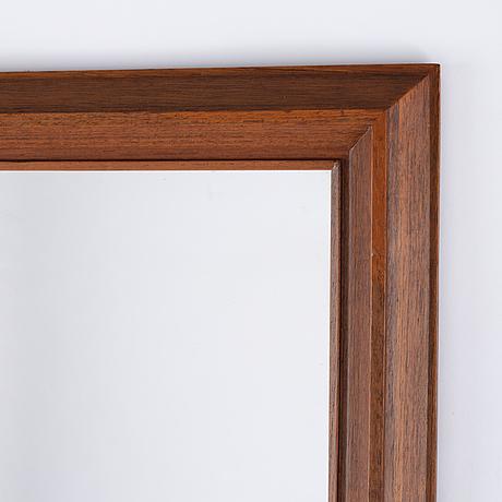 A mid-20th century framed stained oak mirror, eriksmåla glas, sweden.