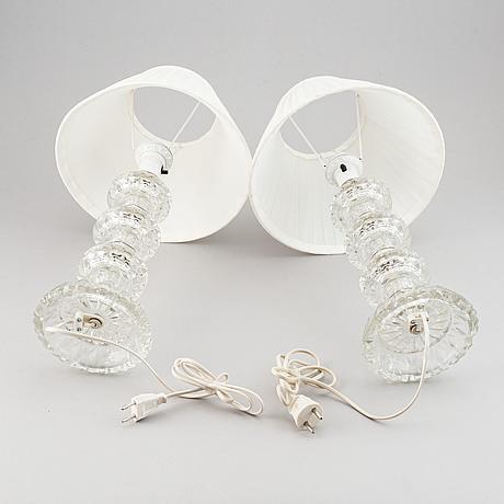 Bordslampor, ett par, glas, 1900-talets andra hälft.