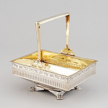 A russian parcel-gilt silver basket, Moscow 1830s.