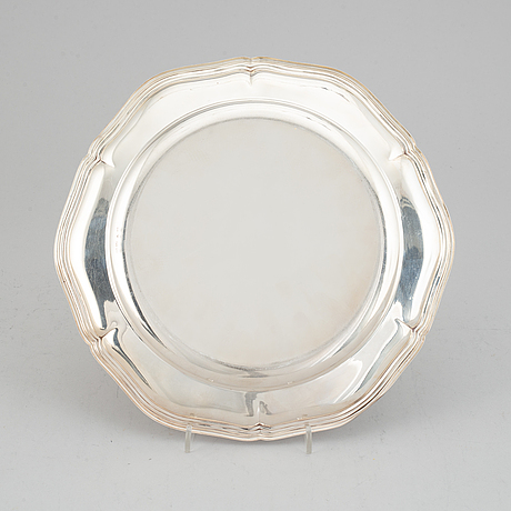 A rococo style silver plate, cg hallberg, stockholm, 1932.