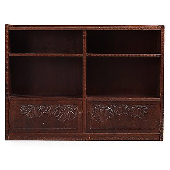 277. Otto Wretling, attributed to, an Art Nouveau carved pine book shelf, Umeå, Sweden, early 20th century.