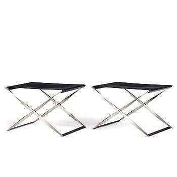 "61. Poul Kjaerholm, a pair of black leather and steel ""PK-91"" folding stools, edition Fritz Hansen, Denmark."