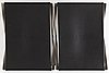 "Poul kjaerholm, a pair of black leather and steel ""pk-91"" folding stools, edition fritz hansen, denmark."
