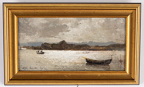 Alfred wahlberg, oil on canvas, signed and dated 18/7-62.