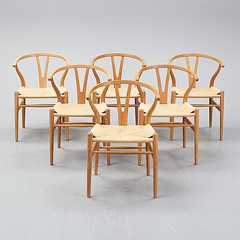 Hans J Wegner, four oak 'Y chairs', Carl Hansen & Son, Denmark.