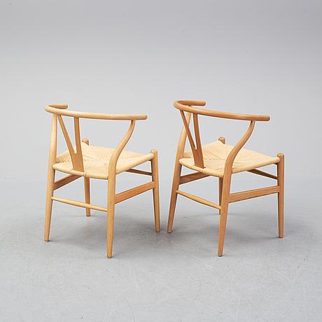 Hans j wegner, six oak 'y chairs', carl hansen & son, denmark.