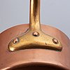 6 saucepans, copper,