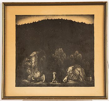 John Bauer, lithograph, unsigned.