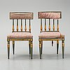 Four late gustavian chairs (2+2), early 19th century.