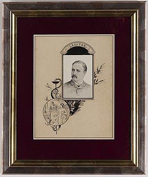 Jenny Nyström, ink drawing, signed.