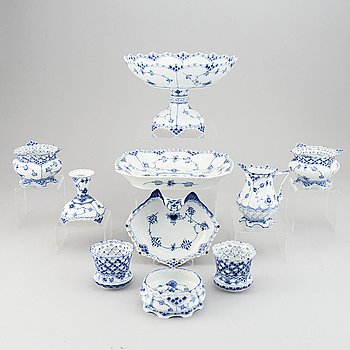 Royal Copenhagen, 10 pcs of 'Blue fluted full lace' porcelain.