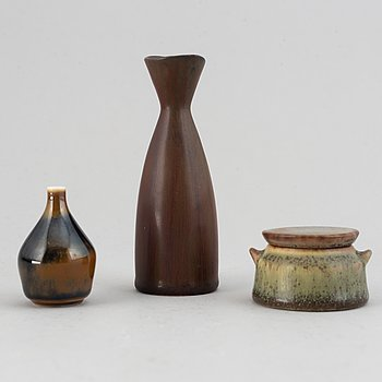 Carl-Harry Stålhane, three stoneware miniatures, Rörstrand.