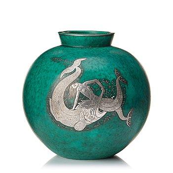 "70. Wilhelm Kåge, a large green glazed stoneware ""Argenta"" vase, Gustavsberg 1948."