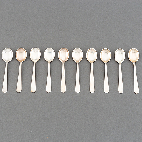 Wiwen nilsson, a set of 10 silver coffee spoons, lund, sweden 1952-64.