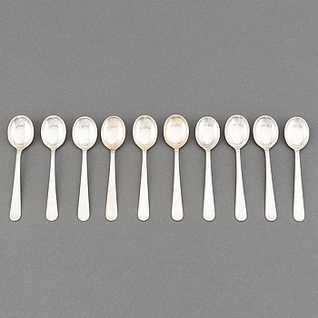 Wiwen Nilsson, a set of 10 silver coffee spoons, Lund, Sweden 1951-64.