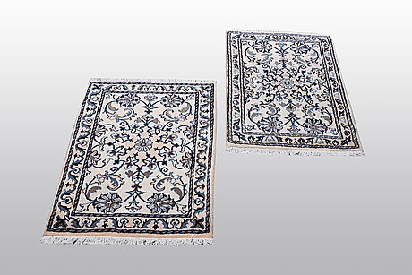 Two nain rug, part silk, so called 9 laa, ca 90 x 60 cm.