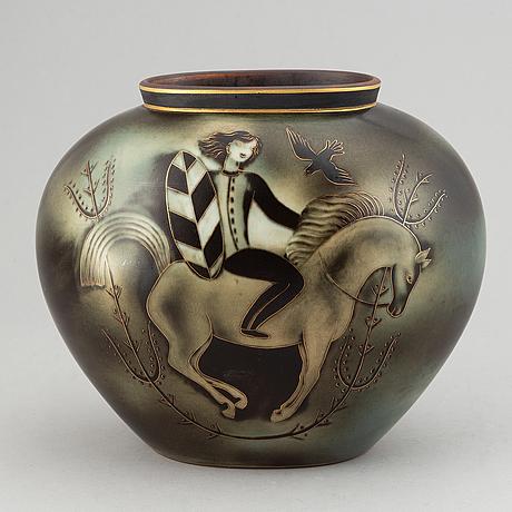 "A gunnar nylund ""flambé"" stoneware vase, lidköping rörstrand, 1930´s/40´s."