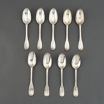 A matched set of nine 18th century silver spoons, marked Basel and Naunur (Belgum).