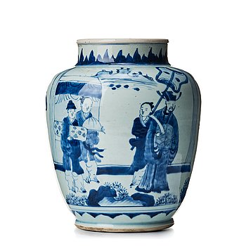 823. A blue and white Transtional jar, 17th Century.
