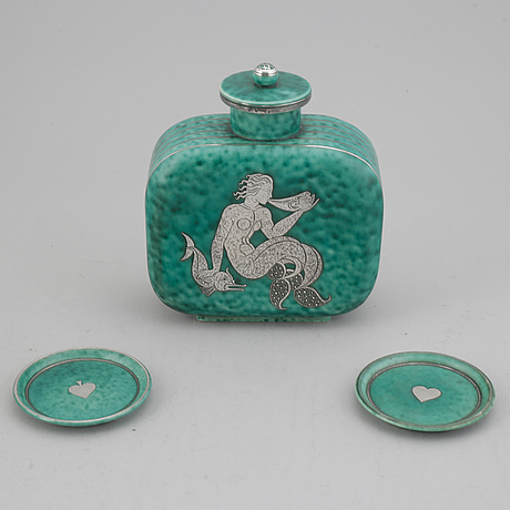 "Wilhelm kåge, vase and two ash plates, ""argenta"", gustavsberg."