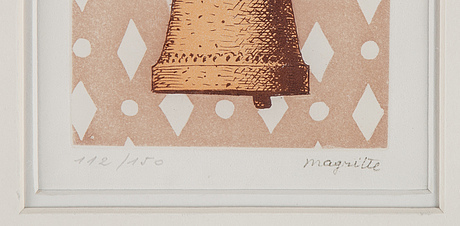 René magritte, etching in colours, 1958, stamped signature 112/150.