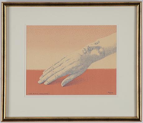 René magritte, färglitografi, 1963, signerad i trycket.