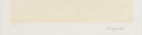 René magritte, efter, etsning, av george visat, stämpelsignerad och numrerad h.c.