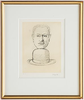 René Magritte, after, etching by George Visat, stapmed signature, HC.