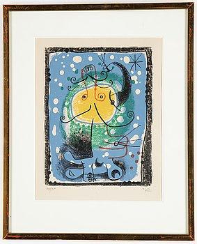 Joan Miró, färglitografi,  signerad och numrerad 30/75.
