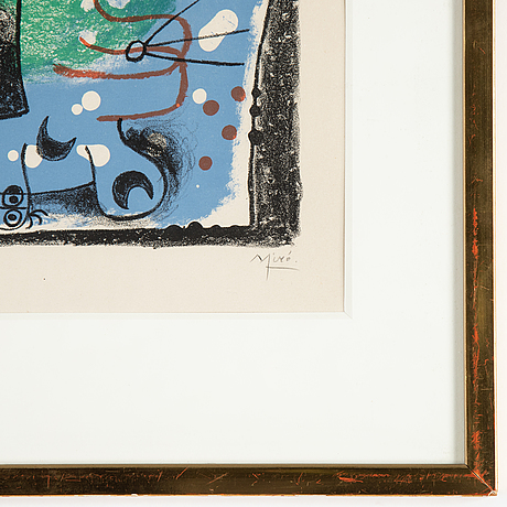 Joan miró, lithograph in colors, signed and numbered 30/75.