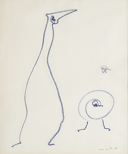 Max ernst, chalk on paper, signed and dated -65.
