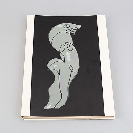 Max ernst, bok med 2 färgetsningar signerade med blyerts. samt 26 offsetlitografier.
