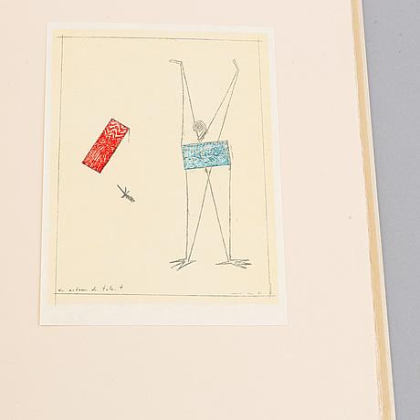 Max ernst, bok med färglitografi, 1973, signerad och numrerad 21/80.
