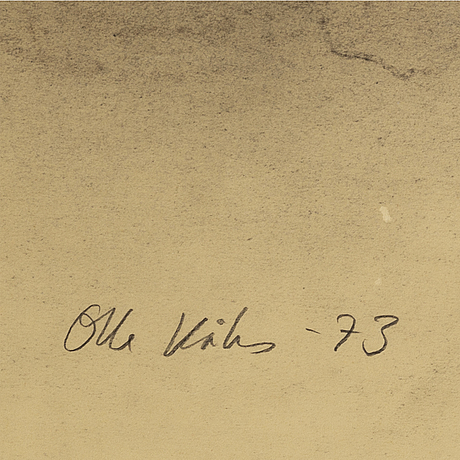 Olle kåks, charcoal on papper, signed olle kåks and dated -73.