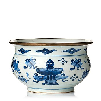 830. A blue and white censer, Qing dynasty, Kangxi (1662-1722).