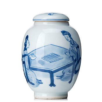 827. A blue and white tea caddy with cover, Qing dynasty, Kangxi (1662-1722).