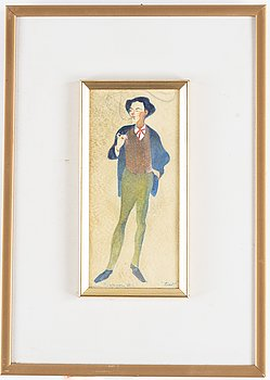 Einar Nerman, watercolour, signed and dated -08.