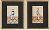 A set with two chinese paintings on rice paper, qing dynasty, 19th century.