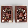 Two sculptured wooden panels, qing dynasty, 19th century.