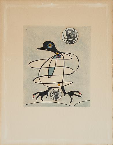 Max ernst, färgetsning med akvatint och kollage, 1975, signerad 55/100.