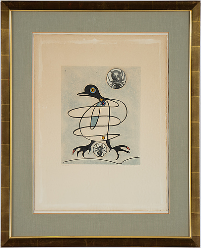 Max ernst, etching & aquatint in colours, collage, 1975, signed 55/100.
