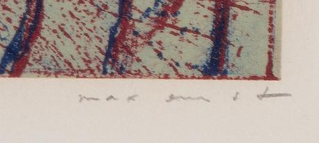 Max ernst, färglitografi, 1975, signerad 70/500.