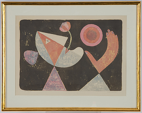 Victor brauner, lithograph in colours, 1955, signed hc.