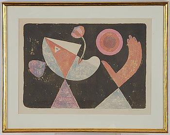 Victor Brauner, färglitografi, 1955, signerad HC.
