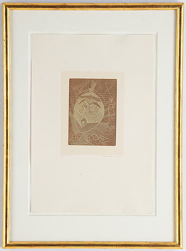 Max ernst, etching in colours, 1950, signed 29/100.