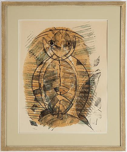Max ernst, färglitografi, 1955, signerad 149/200.