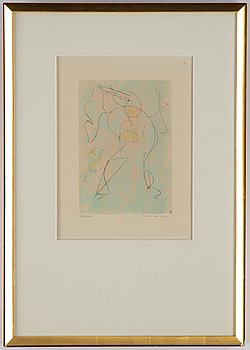 Max Ernst, etching in colour, 1973, signed 78/100.