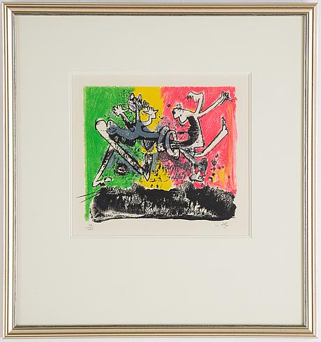 Roberto matta, färglitografi, signerad 93/150.