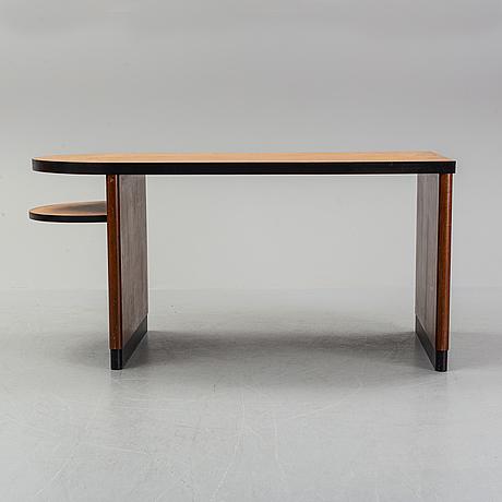 Axel einar hjorth, attributed to. a walnut and birch desk, nordiska kompaniet, 1930's.