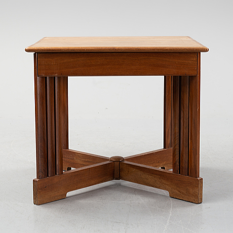 A mahogany and birch center table, 1910's/20's.